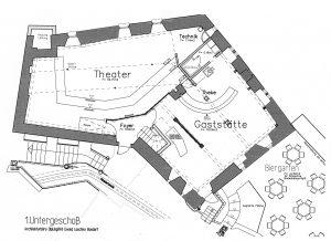 Lageplan 1. UG mit Gasttaette Kloster